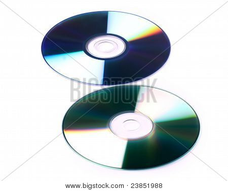 cd and dvd on white background