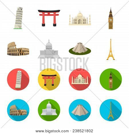 Sights Of Different Countries Cartoon, Flat Icons In Set Collection For Design. Famous Building Vect