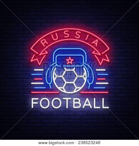 Soccer Championship Logo Neon Vector. Soccer Neon Sign, European Football Cup 2018, Light Banner, De