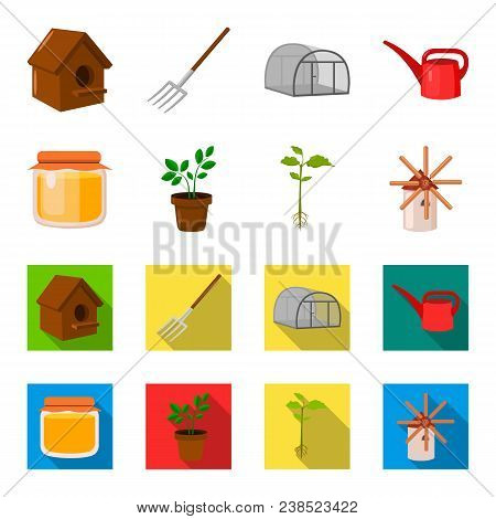 Honey Bank, Plant, Mill.farm Set Collection Icons In Cartoon, Flat Style Vector Symbol Stock Illustr