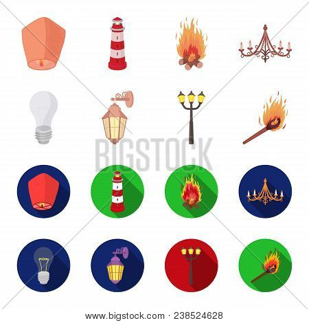 Led Light, Street Lamp, Match.light Source Set Collection Icons In Cartoon, Flat Style Vector Symbol