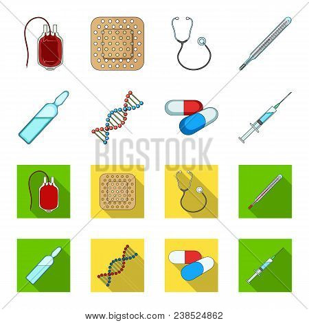 Human Dna And Other Equipment.medicine Set Collection Icons In Cartoon, Flat Style Vector Symbol Sto
