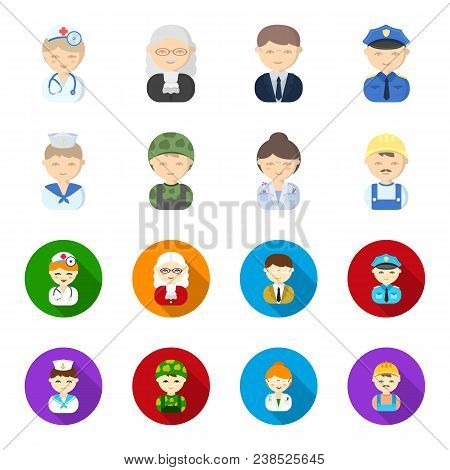 Sailor, Soldier, Scientist, Builder.profession Set Collection Icons In Cartoon, Flat Style Vector Sy