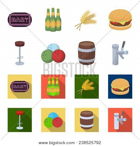 Restaurant, Cafe, Chair, Bowling Ball .pub Set Collection Icons In Cartoon, Flat Style Vector Symbol