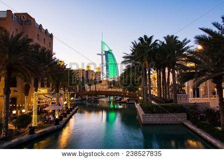 Dubai, United Arab Emirates - April 20, 2018: Burj Al Arab Luxury Hotel View From The Madinat Jumeir