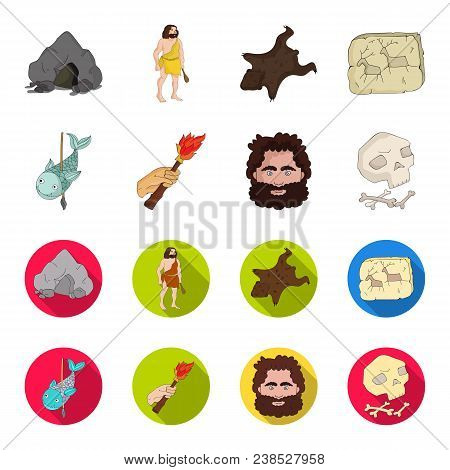 Primitive, Fish, Spear, Torch .stone Age Set Collection Icons In Cartoon, Flat Style Vector Symbol S
