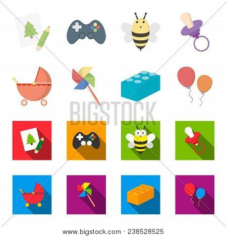 Stroller, Windmill, Lego, Balloons.toys Set Collection Icons In Cartoon, Flat Style Vector Symbol St