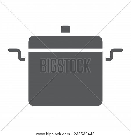 Cooking Pan Glyph Icon, Kitchen And Cooking, Cooking Pot Sign Vector Graphics, A Solid Pattern On A