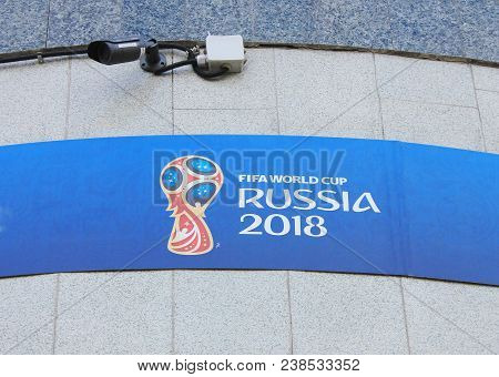 St. Petersburg, Russia - April 9, 2018: Fifa World Cup Russia 2018 Sign On Fan Id Registration Cente