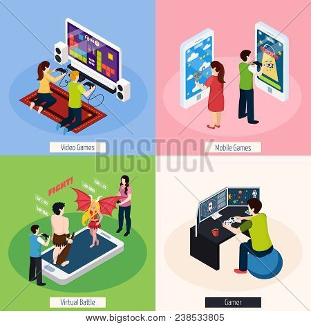 Gamers With Electronic Equipment Isometric Design Concept With Video And Mobile Gaming, Virtual Batt