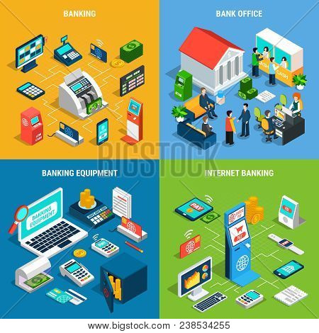 Banking Isometric Design Concept With Office Interior And Staff, Professional Equipment, Online Paym