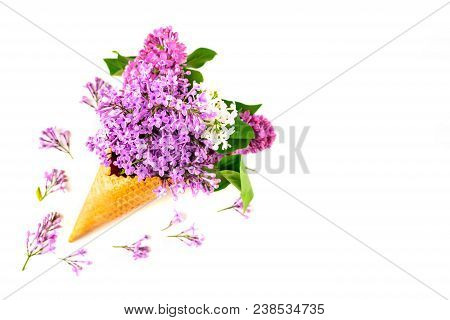 Flowers Composition. Lilac In Waffle Cone. Flat Lay, Top View, Copy Space. Concept Of Proposal, Attr