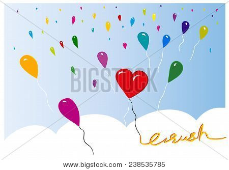 Crush Couple In Love Couple In Love. Illustration Symbolized With Balloons. Illustration Of Heart Wi