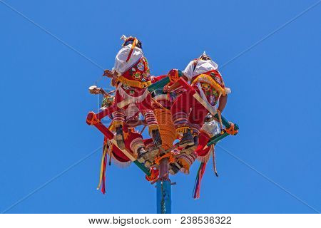 Tulum, Mexico - July 15, 2011: Voladores men at