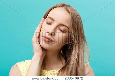 Beautiful Woman Face Portrait Beauty Skin Care Concept: Beauty Young Caucasian Female Model Girl Tou
