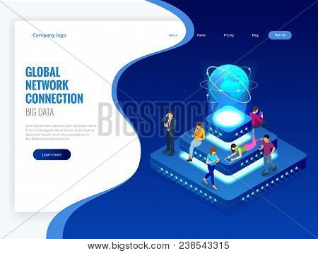 Isometric Social Network, Technology, Networking And Internet Concept. Global Network Connection, Gl