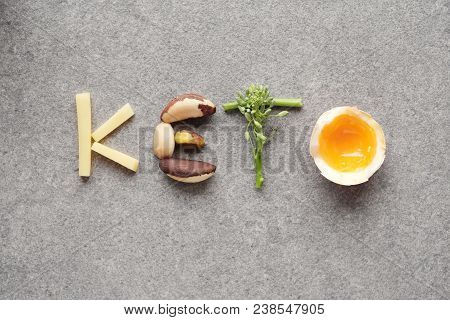 Keto Word Made From Ketogenic Diet, Low Carb, Healthy Food