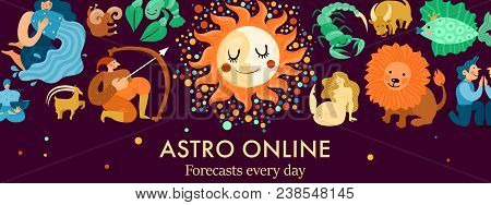 Zodiacal Signs, Sun And Moon Header For Astro Online Forecasts On Black Background Vector Illustrati