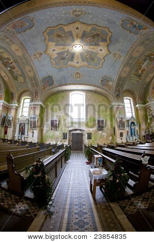 interior of church, Orlicke Zahori, Czech Republic