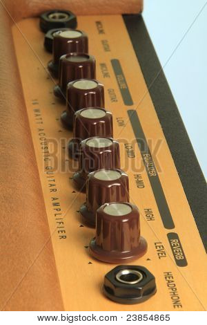 Dials on a guitar amp