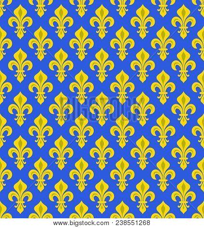 Royal Heraldic Lilies (fleur-de-lys) -- Azure Cerulean Bleu, Seamless Velvet Pattern, Wallpaper Back