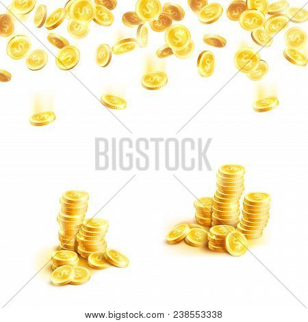 Golden Coins 3d Poster With Falling Gold Money Cash And Stack Of Shiny Dollar Currency. Gold Coin Ba