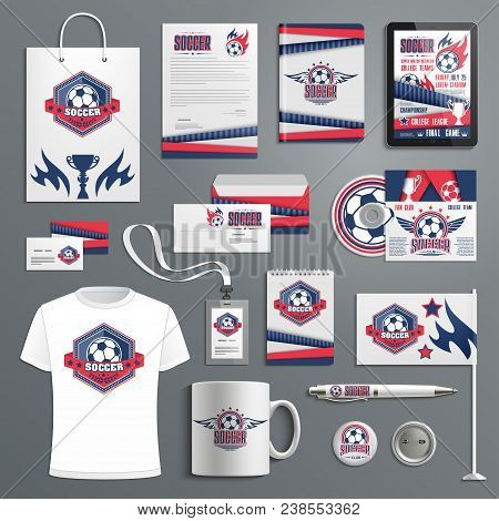 Corporate Identity Template For Soccer Sport Club With Branding Badge Of Football Game Trophy And Ba