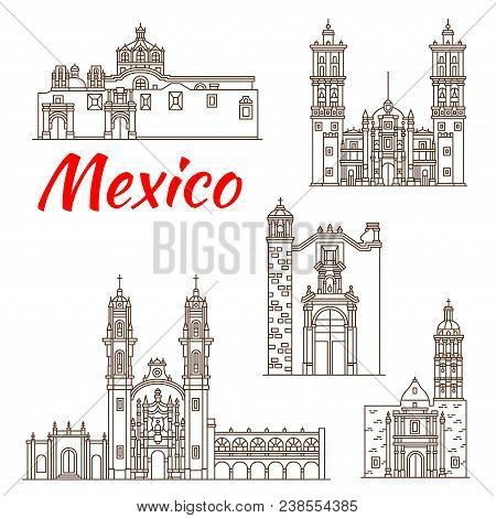 Travel Landmark Of Mexican Architecture Thin Line Icon. Roman Catholic Puebla Cathedral, Church Of O