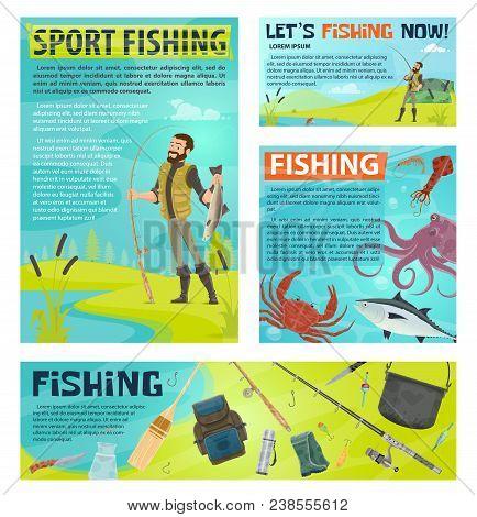 Sport Fishing Cartoon Banner Template For Fisherman Club Or Fishing Tournament Design. Fisherman On
