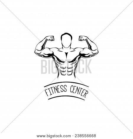 Sportsman Silhouette Character. Ditness Center Logo Label Emblem. Sport Fitness Club Creative Concep