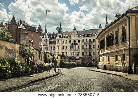 Austrian Style City In The North Of Italy And Beautyfull Sky With Many Clouds
