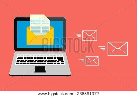 Email Marketing, Internet Advertising Concepts. Laptop With Envelope And Read Email On Screen. Vecto