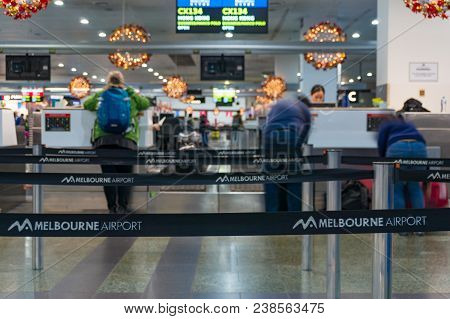 Melbourne, Australia - December 10, 2016: People Checking-in On Flights In Melbourne Airport