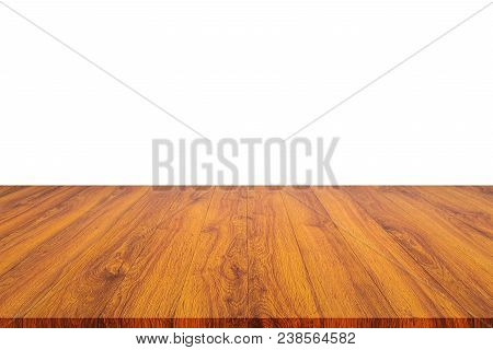 Empty Top Of Wooden Shelf Or Counter Isolated On White Background. Saved With Clipping Path. For Pho