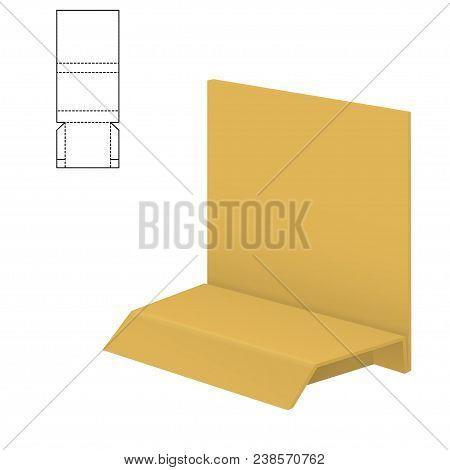 Vector Illustration Of Diecut Craft Box For Design, Website, Background, Banner. Retail Folding Pack
