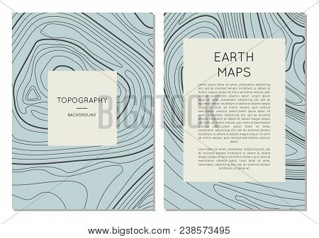 Line Topography Map Contour Banners With Space For Text. Abstract Lines Showing Elevation On Ground