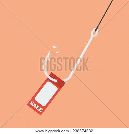 Fishhook With Sale Tag. Business Concept Vector Illuustration