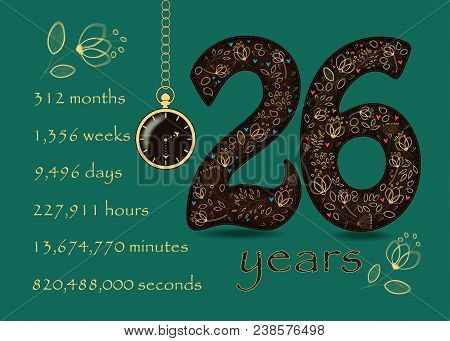 Time Counting Card. Number 26 And Pocket Watch
