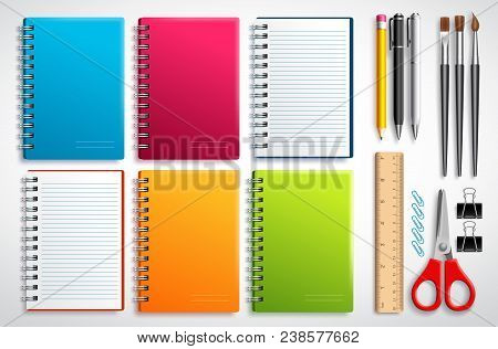 Notebook Vector Set With School Items And Office Supplies Isolated In White Background For Education