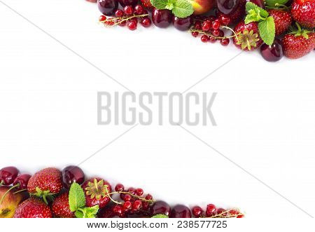 Mix Berries Isolated On A White. Ripe Apricots, Red Currants, Cherries And Strawberries. Berries And