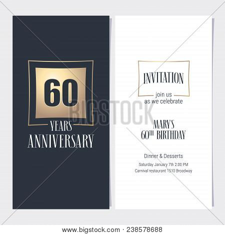 60 Years Anniversary Invitation Vector Illustration. Graphic Design Template With Golden Element For