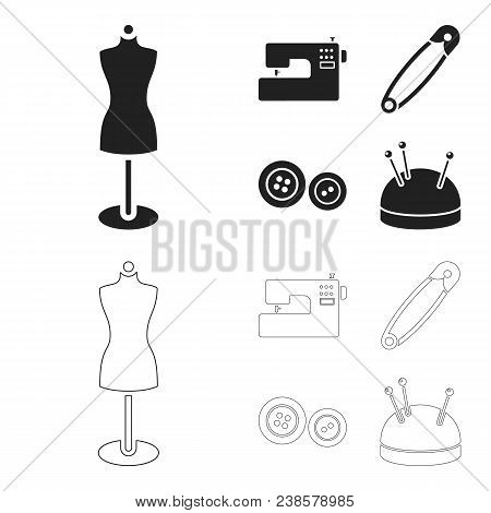 Electric Sewing Machine, Dummy On The Stand, Pin, Buttons.atelier Set Collection Icons In Black, Out