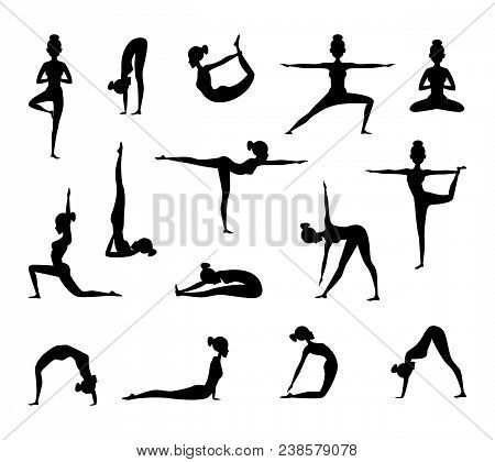 Silhouette Of Female Wich Making Yoga. Vector Collection Of Sport Pictures. Black Silhouette Yoga Fe