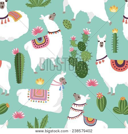 Textile Fabric Seamless Patterns With Illustrations Of Llama And Cactus. Vector Alpaca Seamless Patt