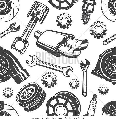 Monochrome Seamless Pattern With Automobile Tools And Details. Parts For Repair Car Pattern, Detail
