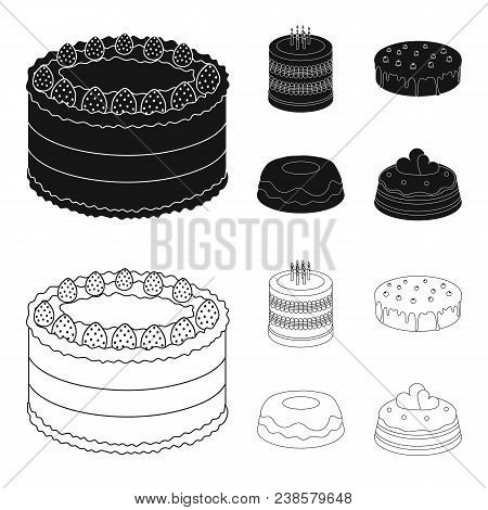 Sweetness, Dessert, Cream, Treacle .cakes Country Set Collection Icons In Black, Outline Style Vecto