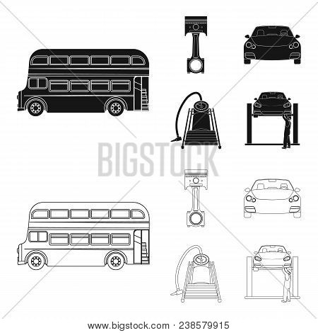 Car On Lift, Piston And Pump Black, Outline Icons In Set Collection For Design.car Maintenance Stati