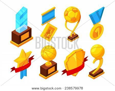 Isometric Set Of Sport Trophy. Sport Cup Champion, Trophy Isometric Prize, Vector Illustration