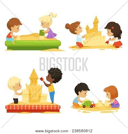Summer Time. Kids Playing On Beach With Sand. Vector Kids Build Castle, Play In Sand Beach Illustrat