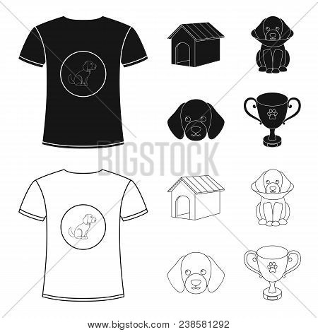 Dog House, Protective Collar, Dog Muzzle, Cup. Dog Set Collection Icons In Black, Outline Style Vect